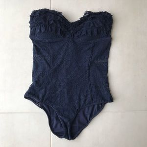 Juicy Couture Lace Ruffled Sheer Side Swimsuit B36